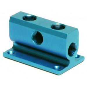 """Eloxovaný hliníkový rozdeľovač vzduchu so 3/4"""" vstupom a 1/2"""" predným a bočným výstupom"""