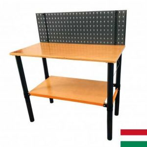 Modulárny pracovný stôl s perforovaným panelom s policou 125x62x105cm