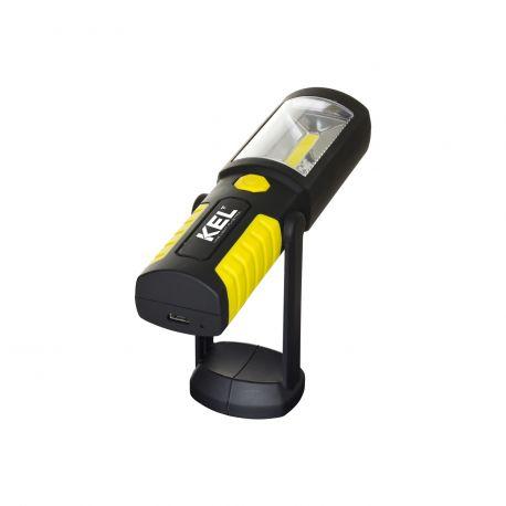 Nabíjateľná LED dielenská baterka 2W COB s magnetom a háčikom